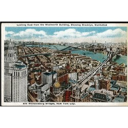 Looking East from the Woolworth Building. Showing Brooklyn, Manhattan and Williamsburg Bridges, New York City